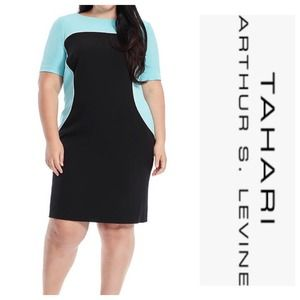 ❤️ Tahari ASL Piped Aqua Black Colorblock Dress